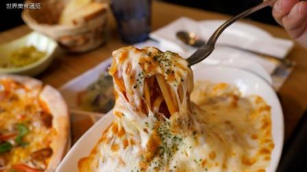 韩国餐厅手工制作披萨和意大利面,外加一杯牛奶,美味至极