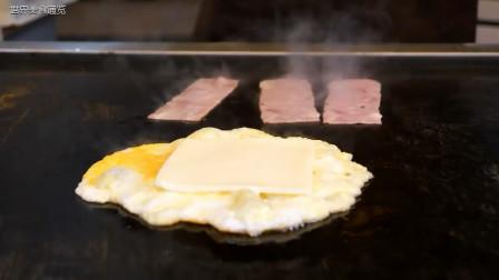韩国经典美食:奶酪培根吐司,吐司夹培根和煎蛋,咬一口满嘴是香