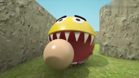 吃豆大作战:吃豆人vs红怪物吃豆人,滑下魔法滑梯