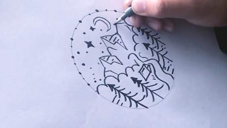 手绘插画教程:夜空下的森林简易插画,随手可画的小图案,新手必学哦~