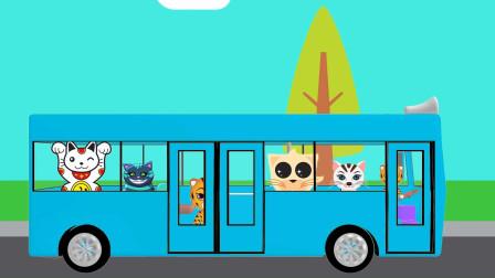 动物们搭乘公交车奇趣蛋拆盒玩具