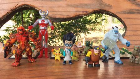 趣味儿童玩具故事,怪兽在农田捣乱,农民伯伯变身奥特曼之父战斗