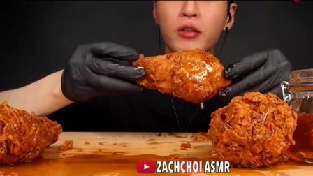 大胃王美食吃播,韩国小哥吃蜂蜜炸鸡腿,吃的太香太诱人了