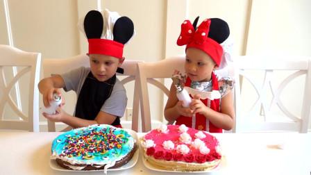 萌娃小可爱们在家里做蛋糕!小家伙真是厉害呀!萌娃:好漂亮的蛋糕呀!
