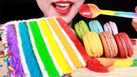 最打动少女心的高颜值甜点,彩虹蛋糕和彩色马卡龙,每一口都是幸福的滋味