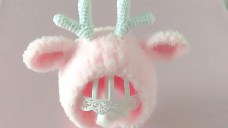 爱剪辑-棒针编织珊瑚绒鹿角护耳帽装饰教程织法视频