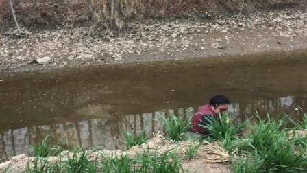 农村人吃鱼真简单,这种小河沟都能抓到鱼,太让人羡慕了!