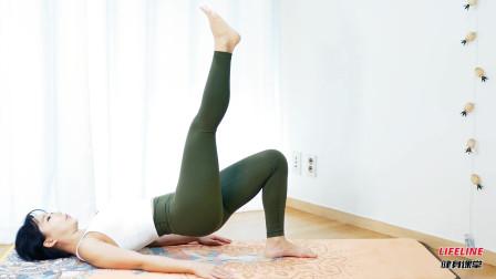 像小姐姐这样做单腿臀桥,单腿垂直地面,对臀大肌的作用更大
