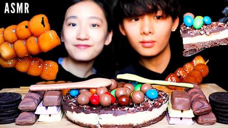 """韩国吃播:""""巧克力芝士蛋糕+可食用汤匙+奥利奥饼干"""",吃得真香"""