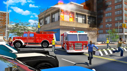 [亲子阿克]消防模拟游戏 咖啡店起火 消防车急速前往