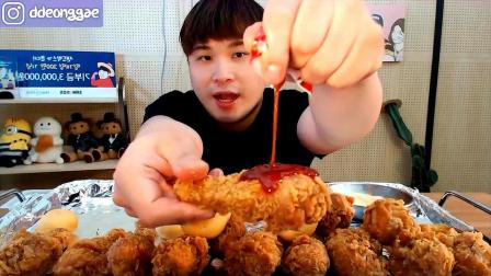 韩国大胃王胖哥,吃香酥炸鸡腿,太解馋了