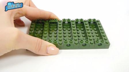 军绿色的小颗粒积木,发挥孩童的想象力,猜猜我会拼什么