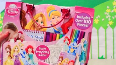 儿童玩具:公主版彩色画笔和贴纸,先画出白雪公主