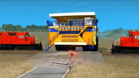 BeamNG:巨大的别拉斯矿车强行冲向繁忙的火车铁轨,拟真车祸模拟