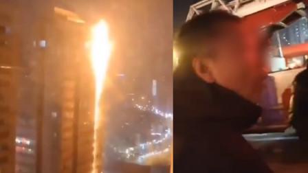 沈阳居民楼突发大火 车主堵消防通道:楼上着火跟我有关系吗