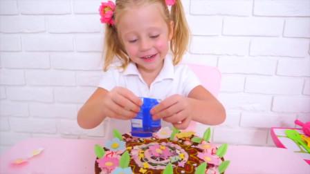 超厉害!今天是爸爸的生日,萌娃小可爱变身厨师给爸爸做了非常美味的生日蛋糕!
