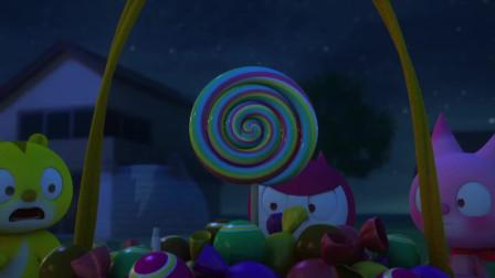 迷你特工队   弗特吃了秀智留给哈利的糖果 被秀智一锤打到了树上