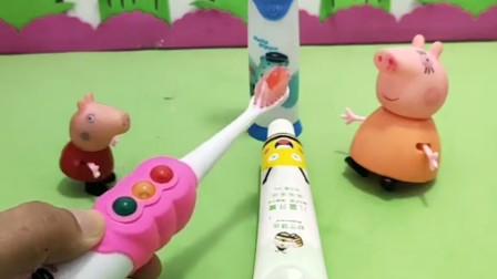 猪妈妈叫佩奇乔治刷牙,乔治不愿意刷牙,你说他这样对吗?