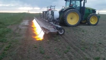 战斗民族的除草方式,用喷火器焚烧田地中的杂草,场面也太刺激了
