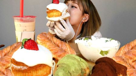 ☆ Ttu Seon Saeng ☆(剪说话)鲜奶油晴王葡萄配草莓奶油蒙布朗面包、提拉米苏可颂、绿茶可颂、糖霜辫子面包、珍珠奶茶 食音咀嚼音