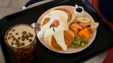 韩国街边美食 鸡蛋蛋奶酥煎饼 旅游可以去尝尝