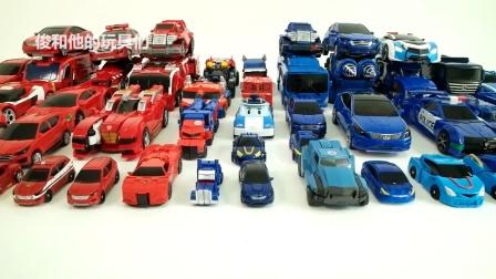 红色vs蓝色机器人改造你好汽车人变形金刚