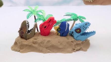 机械恐龙军团拯救被埋在土中的玩具恐龙们.mp4