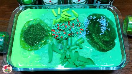 手压玩具益智,绿色泥泡沫块,红色绿色珍珠子,水晶泥,儿童玩具亲子互动