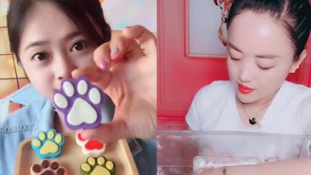 小姐姐直播吃彩色猫爪巧克力、彩色粉笔糖,是我童年向往的生活
