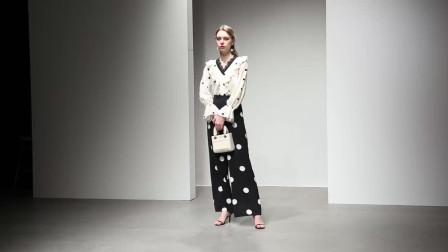 2020春装新款欧美时尚荷叶撞色V领流苏波点衬衫高腰阔腿长裤套装