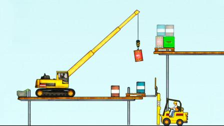 工程车游戏视频 将货物堆高 大吊车自己能完成吗