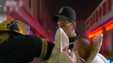 连云港:办公高楼起火,消防紧急疏散被困者