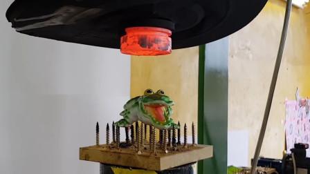 为了对付玩具鳄鱼,老外出动液压机和100度钢盘,网友:烤了能吃吗?