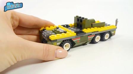 聪明宝宝的小颗粒积木玩具 DIY军绿色坦克车