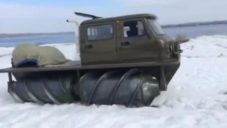 俄罗斯螺旋滚筒推进技术的全地形车,水陆两栖行驶能力