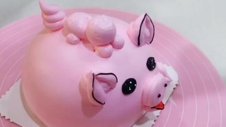 粉色小猪奶油蛋糕,太可爱了,都不舍得吃了!