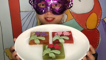 """小姐姐吃手工""""兰花巧克力橡皮糖"""",4色甜香扑鼻,果味扯着吃"""