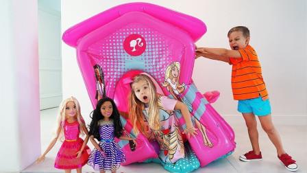 萌娃捣蛋游戏故事:小萝莉带着芭比娃娃在露营,小正太过来捣蛋?