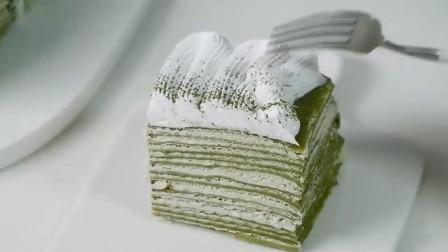 很火的抹茶千层蛋糕,方法简单,一学就会,在家就可以轻松完成