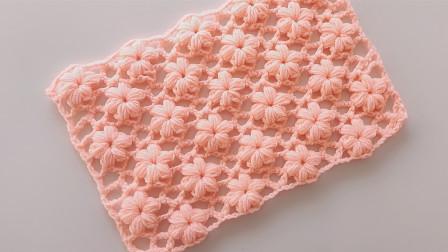 一连线钩法,非常漂亮的一款泡芙花样,可以做围巾或披肩