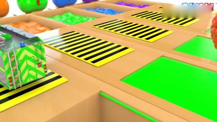 儿童益智认知自卸车校车和垃圾车与魔法液体的颜色儿童教育动画片