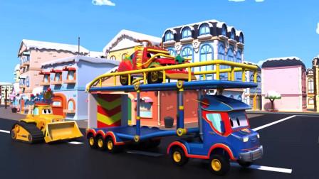 超级卡车卡尔:中国龙赛车,带领狂欢队伍游行,儿童动画片