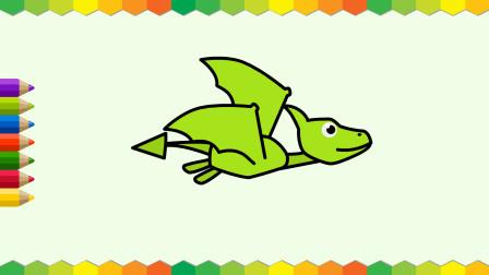 布丁儿童学画画 恐龙 翼龙