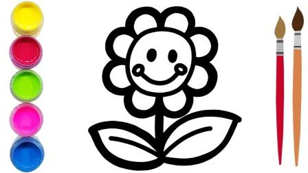 给可爱的花朵上色可爱的花朵上色|图画书涂色游戏涂色页