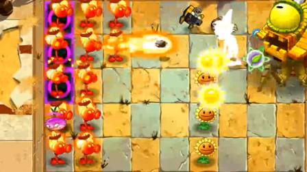植物大战僵尸2:最高等级火焰豌豆射手 vs 僵尸博士