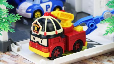 小镇的面包店着火了,变形警车救援队紧急灭火