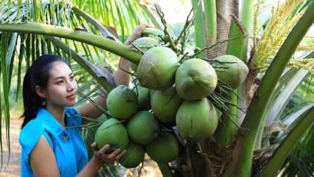 """柬埔寨农村巧妇,摘来新鲜的椰子,做""""椰子果冻"""",做得真好吃啊"""