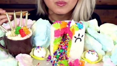 小姐姐吃独角兽甜品:彩虹爆炸蛋糕、惊喜杯蛋糕,网友:少女心爆棚