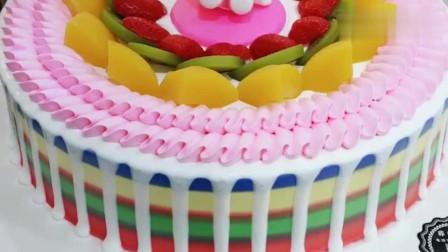 彩边淋面水果蛋糕,完成后都不舍得吃了!