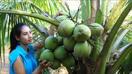 农村小姐姐,从树上摘下新鲜的椰子,带回竹屋做椰冻吃